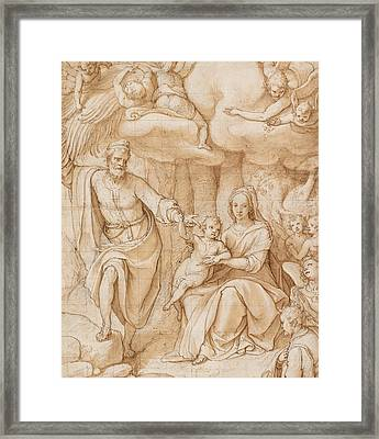 Rest On The Flight Into Egypt Framed Print by Federico Zuccaro