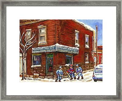 Restaurant Epicerie Jean Guy Pointe St. Charles Montreal Art Verdun Winter Scenes Hockey Paintings   Framed Print by Carole Spandau