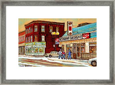 Restaurant Greenspot And Coin Vert Boutique Fleuriste Montreal Winter Street Hockey Scenes Framed Print by Carole Spandau