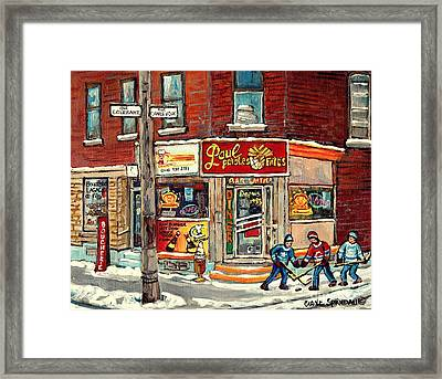 Restaurant Paul Patate Pte St Charles Montreal Verdun Paintings Hockey Art City Scenes Cspandau Framed Print by Carole Spandau