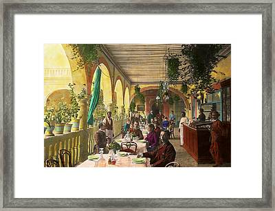 Restaurant - Waiting For Service - 1890 Framed Print by Mike Savad