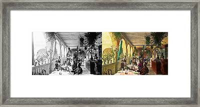 Restaurant - Waiting For Service - 1890 - Side By Side Framed Print by Mike Savad