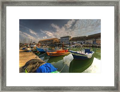 resting boats at the Jaffa port Framed Print by Ron Shoshani