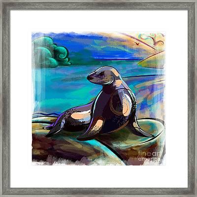 Resting Seal Framed Print by Bedros Awak