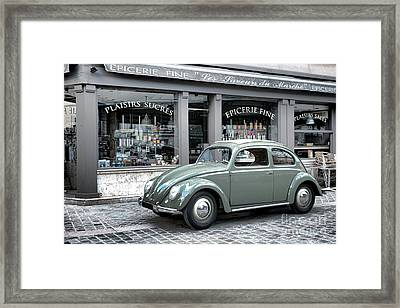 Retro Beetle Framed Print by Olivier Le Queinec