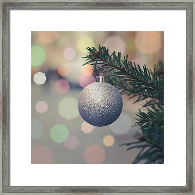 Retro Christmas Tree Decoration Framed Print by Mr Doomits