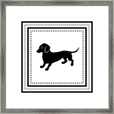Retro Dachshund Framed Print by Antique Images