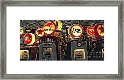 Retro Gas Pumps Framed Print by Jak of Arts Photography