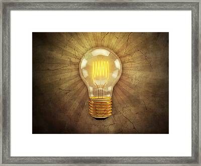 Retro Light Bulb Framed Print by Scott Norris