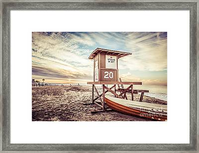 Retro Newport Beach Lifeguard Tower 20 Picture Framed Print by Paul Velgos