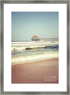Retro Photo Of Huntington Beach Pier  Framed Print by Paul Velgos