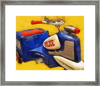 Retro Police Tricycle Framed Print by Michelle Calkins