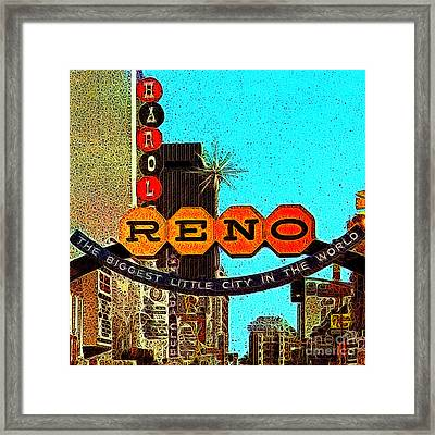 Retro Reno Nevada The Biggest Little City In The World 20130505v1 Framed Print by Wingsdomain Art and Photography