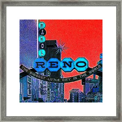 Retro Reno Nevada The Biggest Little City In The World 20130505v2 Framed Print by Wingsdomain Art and Photography
