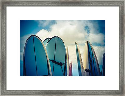 Retro Styled Vintage Surf Boards In Hawaii Framed Print by Mr Doomits