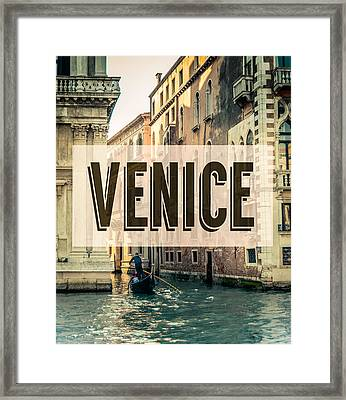 Retro Venice Grand Canal Poster Framed Print by Mr Doomits