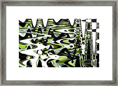 Retro Waves Abstract - Lime Green Framed Print by Natalie Kinnear