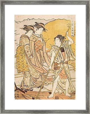 Returning Boats At The Beginning Framed Print by Torii Kiyonaga