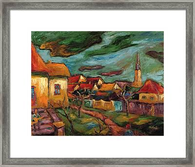 Returning To My Childhood Oil On Canvas Framed Print by Marta Martonfi-Benke