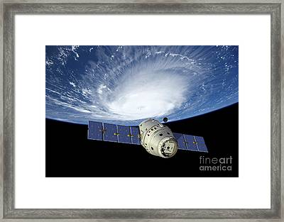 Reusable Crew Capsule In Low Earth Orbit Framed Print by Walter Myers