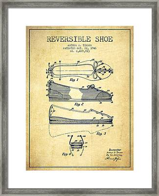 Reversible Shoe Patent From 1946 - Vintage Framed Print by Aged Pixel