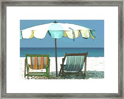 Seaside Beach Umbrella And Chairs Framed Print by Elaine Plesser