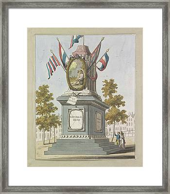 Revolution, Decorations On The Place Royale Framed Print by A. Verkerk And Johannes Roelof Poster