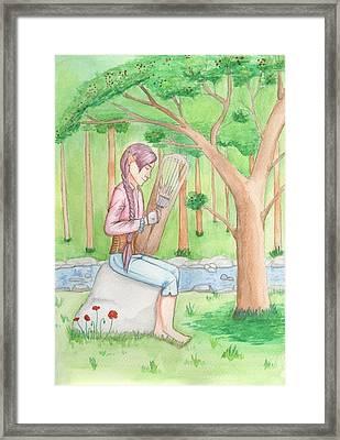 Reynir Playing The Harp Framed Print by Sjofn Snorradottir