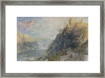 Rheinfels Looking To Katz And Gourhausen Framed Print by Joseph Mallord William Turner