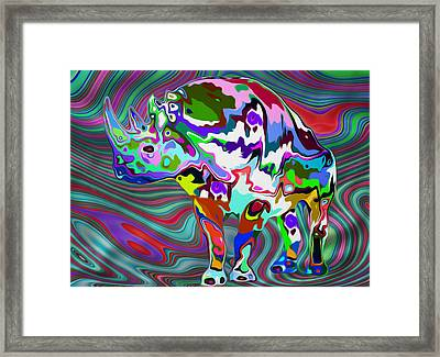 Rhino - Abstract 2 Framed Print by Jack Zulli