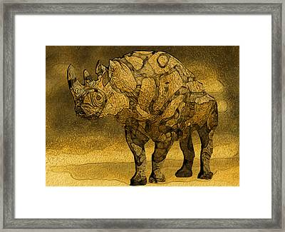 Rhino - Abstract Framed Print by Jack Zulli