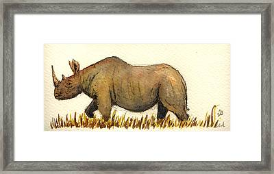 Rhino Framed Print by Juan  Bosco