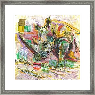 Rhinoceros Love Framed Print by Elizabeth D'Angelo