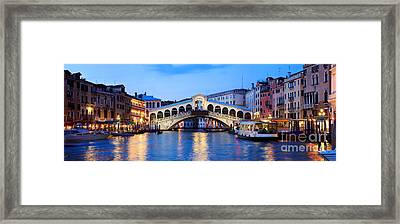 Rialto Bridge At Night Venice Italy Framed Print by Matteo Colombo