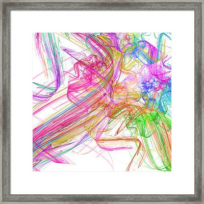 Ribbons And Curls White - Abstract - Fractal Framed Print by Andee Design