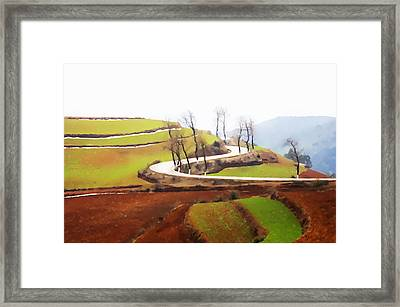 Rice Terraces Of Yuanyang 4 Framed Print by Lanjee Chee