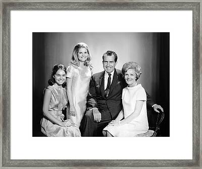 Richard Nixon And Family Framed Print by Underwood Archives