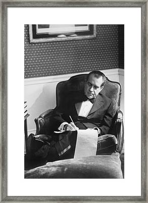 Richard Nixon Working In The Lincoln Framed Print by Everett