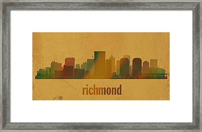 Richmond Virginia City Skyline Watercolor On Parchment Framed Print by Design Turnpike