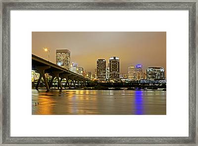 Richmond Virginia From The James River At Night Framed Print by Brendan Reals