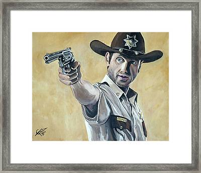 Rick Grimes Framed Print by Tom Carlton
