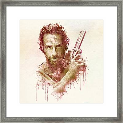 Rick Grimes Watercolor Framed Print by Marian Voicu