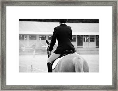 Rider In Black And White Framed Print by Jennifer Ancker