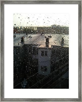 Ridgewood Houses Wet With Rain Framed Print by Mieczyslaw Rudek Mietko