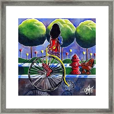Riding Grandmas Bike Framed Print by Jackie Carpenter