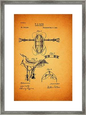 Riding Saddle Patent - 1896 Framed Print by Mountain Dreams