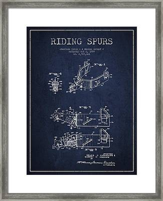 Riding Spurs Patent Drawing From 1959 - Navy Blue Framed Print by Aged Pixel