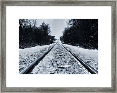 Riding The Rails In Winter Framed Print by Dan Sproul