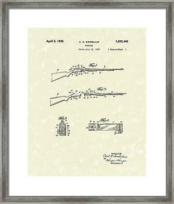 Rifle 1932 Patent Art Framed Print by Prior Art Design