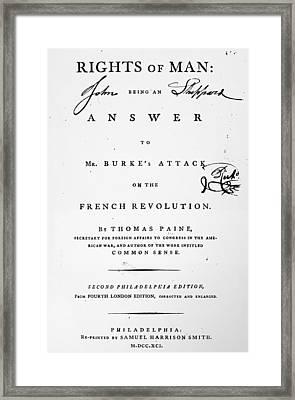 Rights Of Man, 1791 Framed Print by Granger
